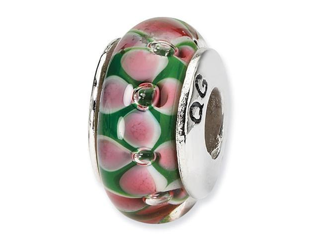 "925 Silver 1/4"" Floral Green Pink Hand Blown Glass Bead"