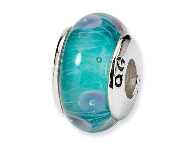925 Sterling Silver Light Blue Glass Charm Kids Bead
