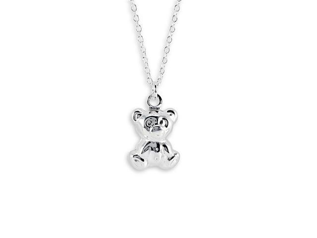 .925 Sterling Silver New Teddy Bear Pendant Necklace