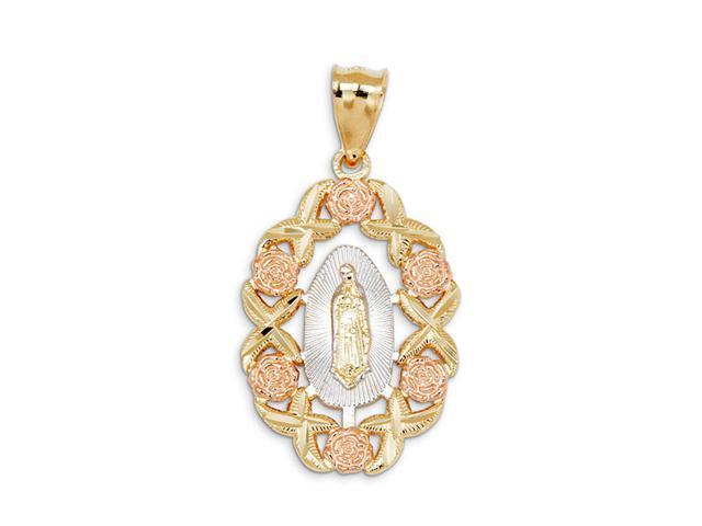 14k Tricolor Gold Rose Flower Virgin Mary Fancy Pendant