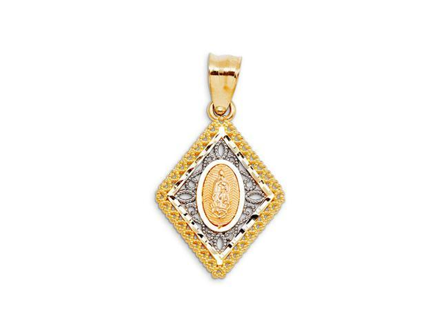 Blessed Virgin Mary 14k Yellow White Rose Gold Pendant