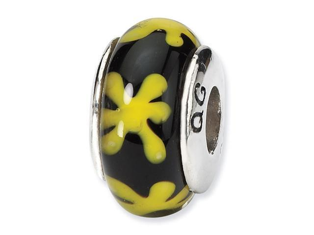 925 Silver Black Yellow Floral Hand Blown Glass Bead