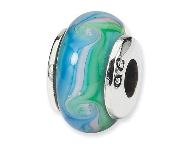 925 Silver Blue Pink Green Swirls Glass Kids Charm Bead