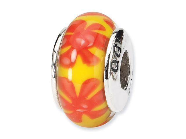 925 Silver Orange Yellow Floral Hand Blown Glass Bead