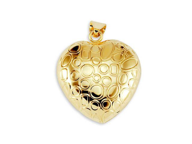 New 14k Yellow Bonded Gold Puffy Heart Charm Pendant