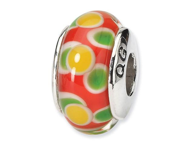 925 Silver Orange Yellow Green Circles Glass Charm Bead