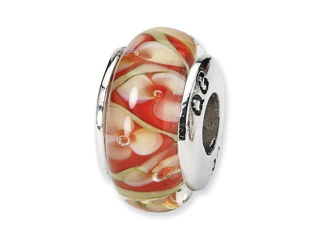 925 Silver Red Gold White Floral Hand Blown Glass Bead