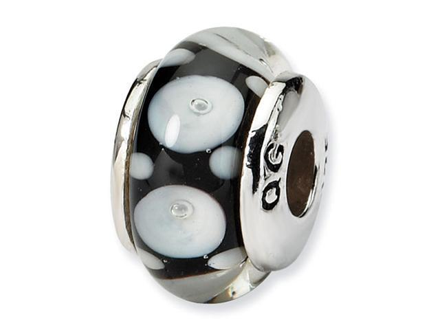 925 Sterling Silver Black White Circles Kids Glass Bead