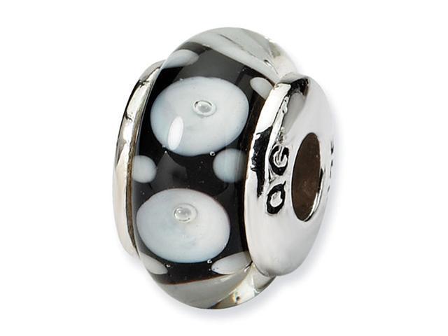 925 Sterling Silver Black White Circles Kids Glass Bead