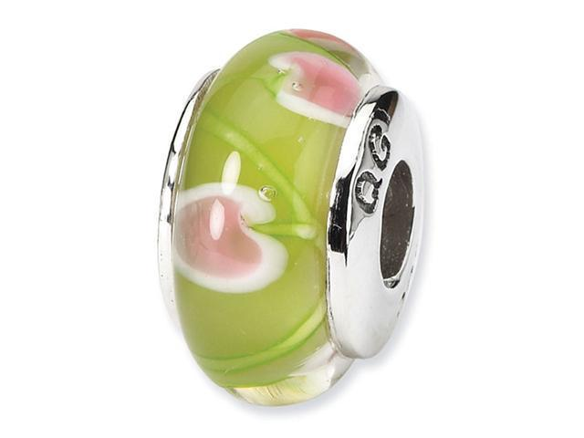 925 Silver Hand Blown Glass Charm Green Floral Bead