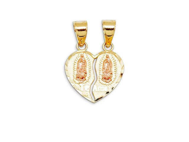 Te Amo Broken Heart Virgin Mary Two Tone Gold Pendant