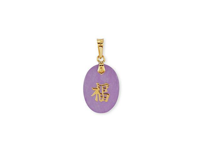 14k Yellow Gold Good Luck Oval Purple Jade Pendant