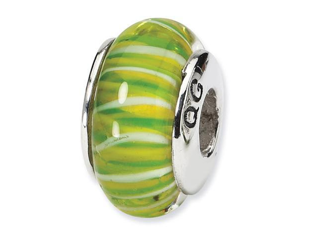 925 Sterling Silver Hand Blown Glass Green Jewelry Bead