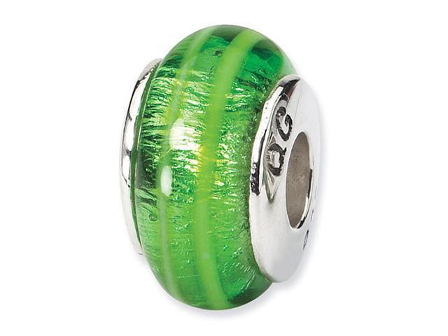 925 Silver Hand Blown Glass Green Stripe Jewelry Bead