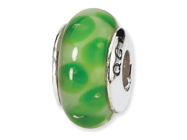 925 Silver Hand Blown Glass Green Dots Jewelry Bead