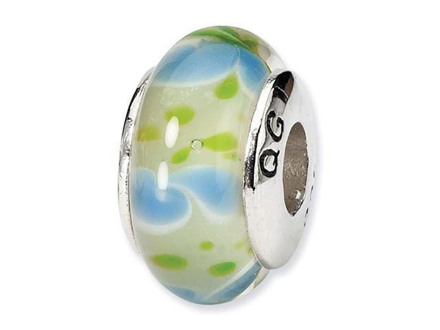 925 Silver Hand Blown Glass Blue Green Jewelry Bead