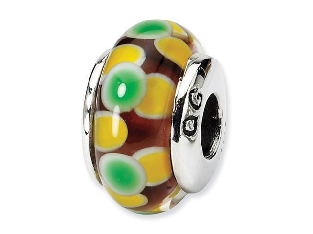 925 Silver Green Yellow Floral Dots Charm Glass Bead