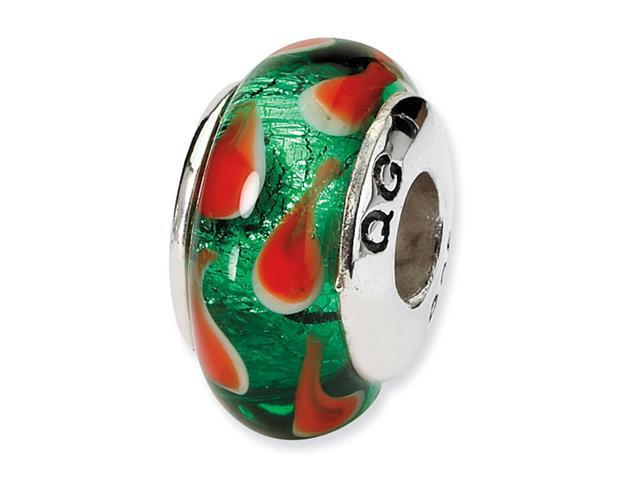 "925 Silver 1/4"" Hand Blown Glass Red Green Charm Bead"