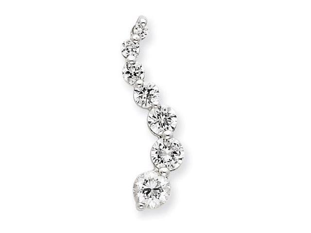 925 Sterling Silver Journey White Round CZ Pendant