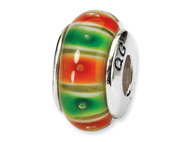 925 Silver Hand Blown Glass Orange Green Stripe Bead