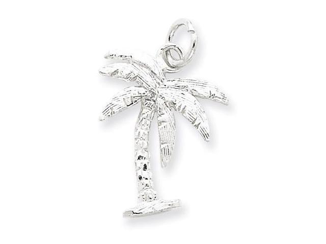925 Sterling Silver Ocean Beach Palm Tree Charm Pendant