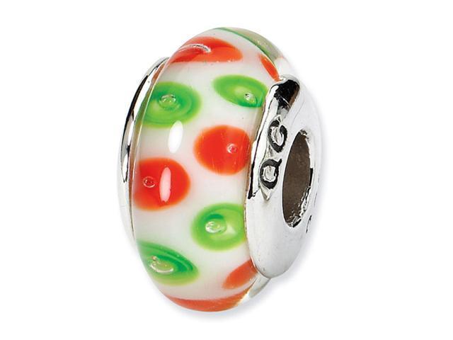 925 Silver Orange Green Dots Charm Jewelry Glass Bead
