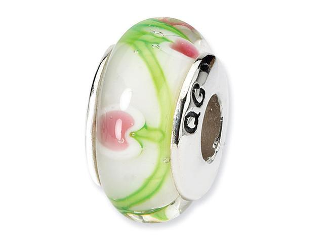 925 Silver White Pink Green Floral Jewelry Glass Bead