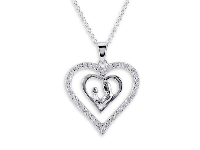925 Sterling Silver Love Mother Child Heart CZ Necklace