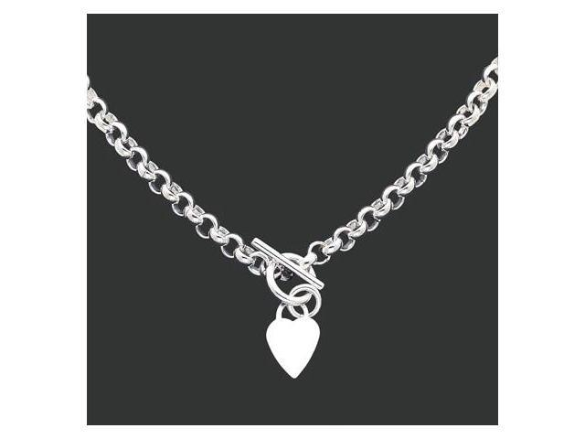 925 Sterling Silver Heart Toggle Clasp Cable Necklace