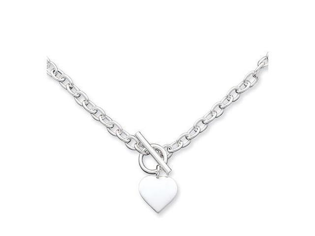 925 Sterling Silver Cable Chain Heart Pendant Necklace