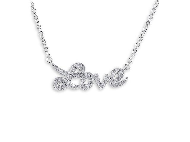 .925 Sterling Silver CZ Love Spell Pendant Necklace