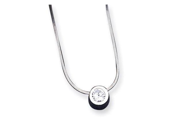 925 Sterling Silver White CZ Round Snake Chain Necklace