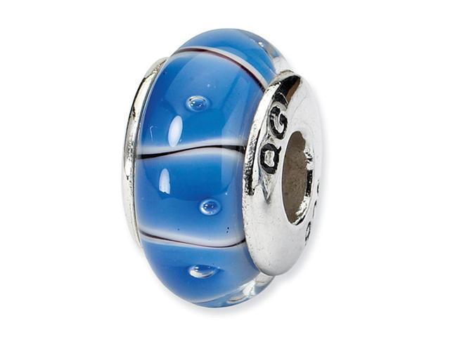 925 Sterling Silver Blue Hand Blown Glass Jewelry Bead