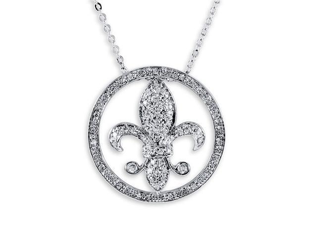 925 Sterling Silver CZ Fleur De Lis Necklace Pendant