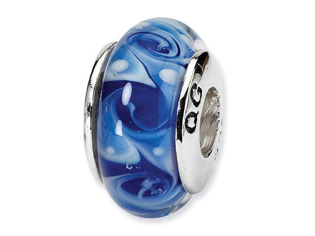 925 Silver Hand Blown Glass Light Dark Blue Charm Bead