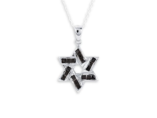 Black CZ .925 Sterling Silver Star Of David Pendant
