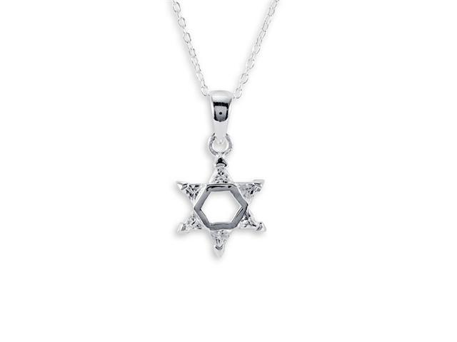 .925 Sterling Silver Star Of David White CZ Necklace