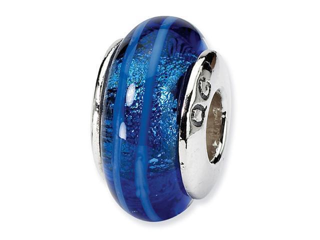 "925 Silver 1/4"" Charm Hand Blown Glass Blue Stripe Bead"