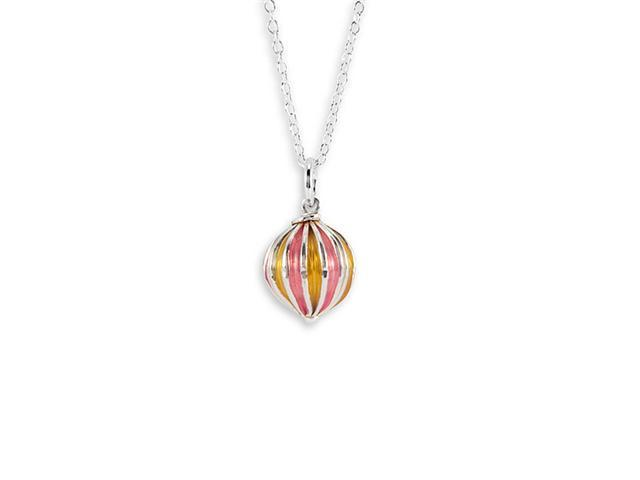 New Yellow Red Enamel 925 Silver Globe Pendant Necklace