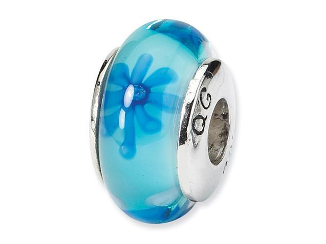925 Silver Hand Blown Blue Flowers Jewelry Charm Bead