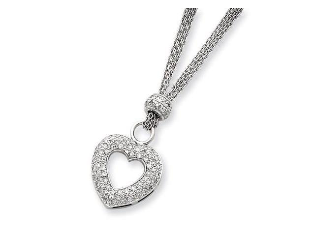 925 Sterling Silver White CZ Pave Open Heart Necklace