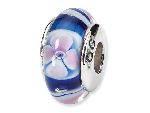 925 Silver Hand Blown Blue Pink Floral Jewelry Bead