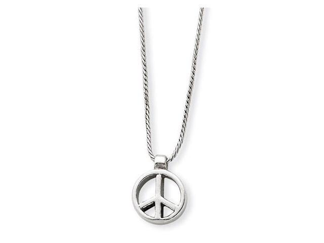 925 Sterling Silver Peace Sign Rope Chain Necklace