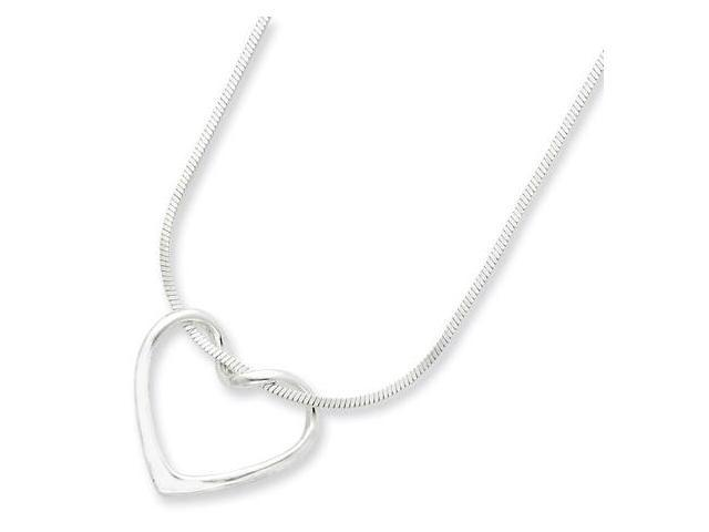 925 Sterling Silver Cutout Heart Snake Chain Necklace