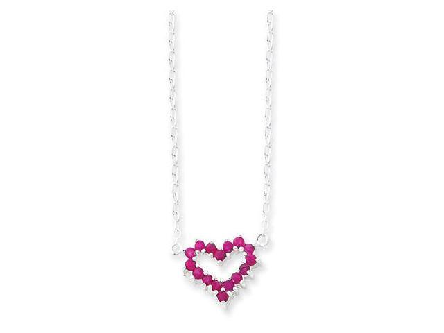 925 Sterling Silver Round Ruby Open Heart Necklace