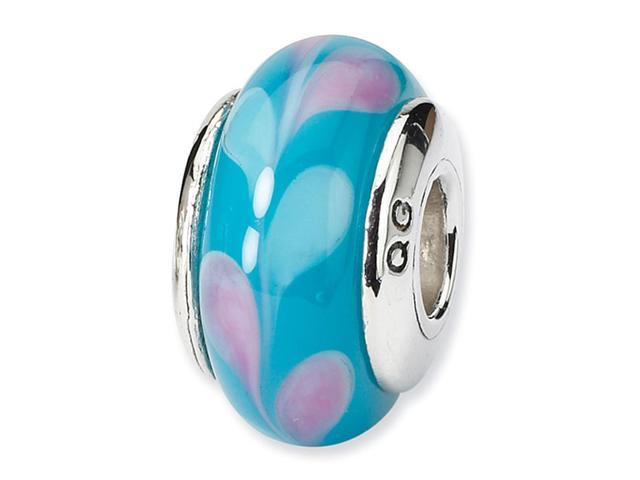 925 Silver Pink Light Blue Hand Blown Glass Charm Bead