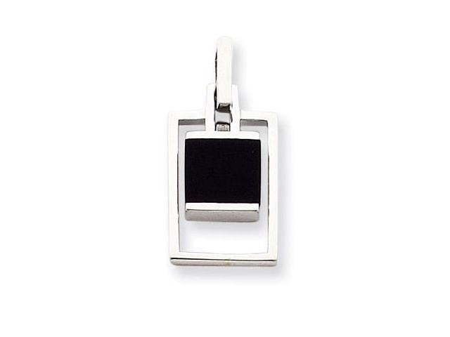 925 Sterling Silver Rectangle Solid Black Onyx Necklace