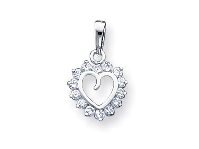 925 Sterling Silver Cutout Heart White CZ Charm Pendant