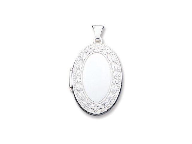 925 Sterling Silver Flower Leaf Oval Locket Pendant