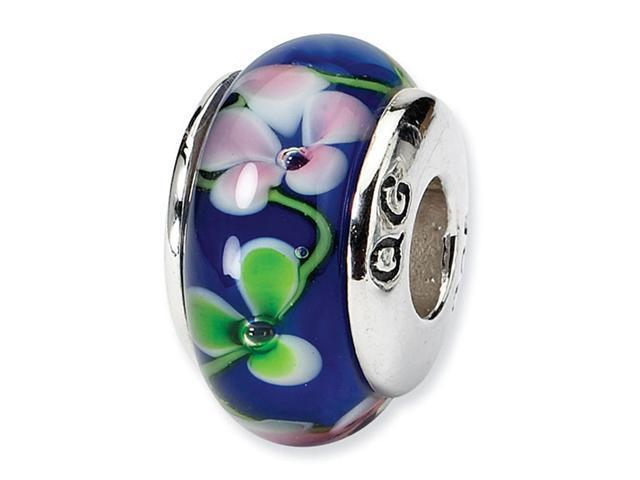 925 Silver Dark Blue Pink Green Floral Glass Charm Bead